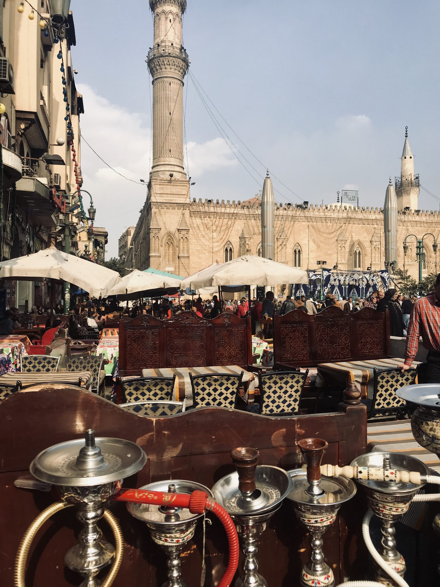 Khan El Khalili markets and mosque in cairo