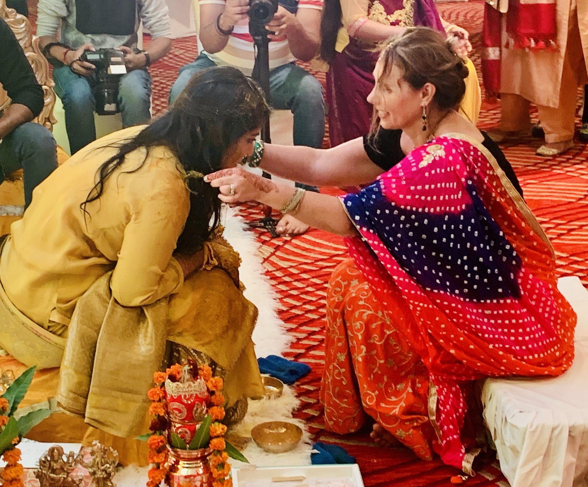 haldi ceremony at an indian wedding